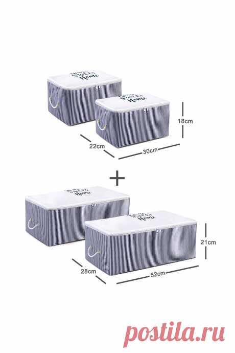 4 шт., Набор сумок для хранения в темно синюю полоску|Складные корзины для белья| | АлиЭкспресс
