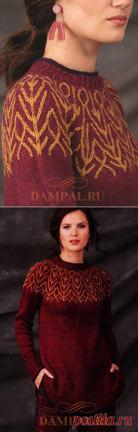 Пуловер с двухцветной кокеткой   DAMские PALьчики. ru