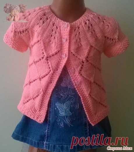"""Летний розовый жакет с узором """"листья"""" для маленькой принцессы"""