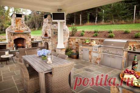 Оригинальные примеры красивого оформления интерьера летней кухни на дачном участке | Мой дом