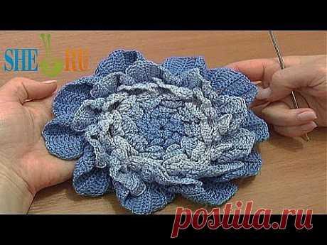 Цветок крючком Урок 66 часть 3 из 3 Вязаные цветы - YouTube