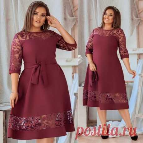 Платье в вставками в большом размере купить недорого