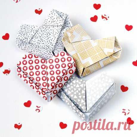 Как сделать валентинку из бумаги в технике оригами