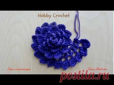 Flor a crochet Nº 6, paso a paso.