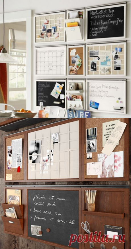 Organizational board for notes: ideas for the house and office — Useful tips