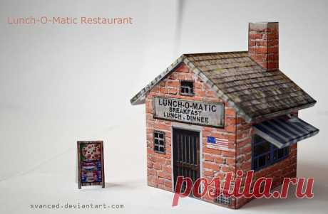 Lunch-O-Matic Restaurant Papercraft +DOWNLOAD A small build,it fits on one A4 paper.Simple and easy to do. Original build/template by: Papermau Difficulty Level:Easy Direct Download Link:[link]