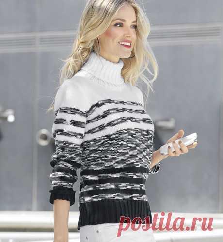 Монохромный свитер в полоску - схема вязания спицами. Вяжем Свитеры на Verena.ru
