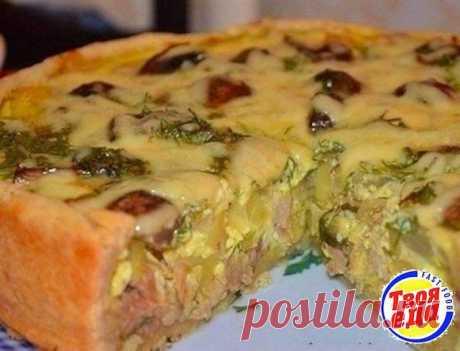 Вкусный пирог с курицей и картофелем