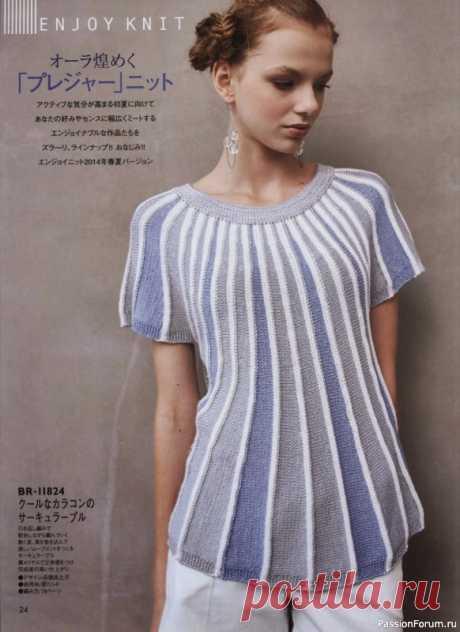 Кофточка поперечным вязанием из азиатского журнала