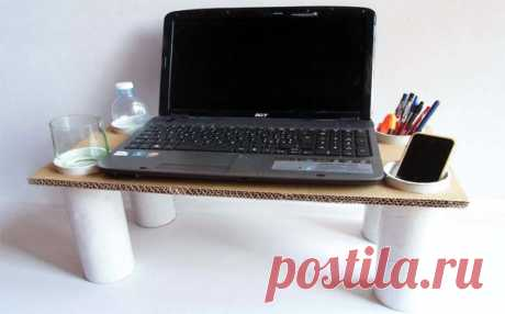 Table for the laptop from a cardboard
