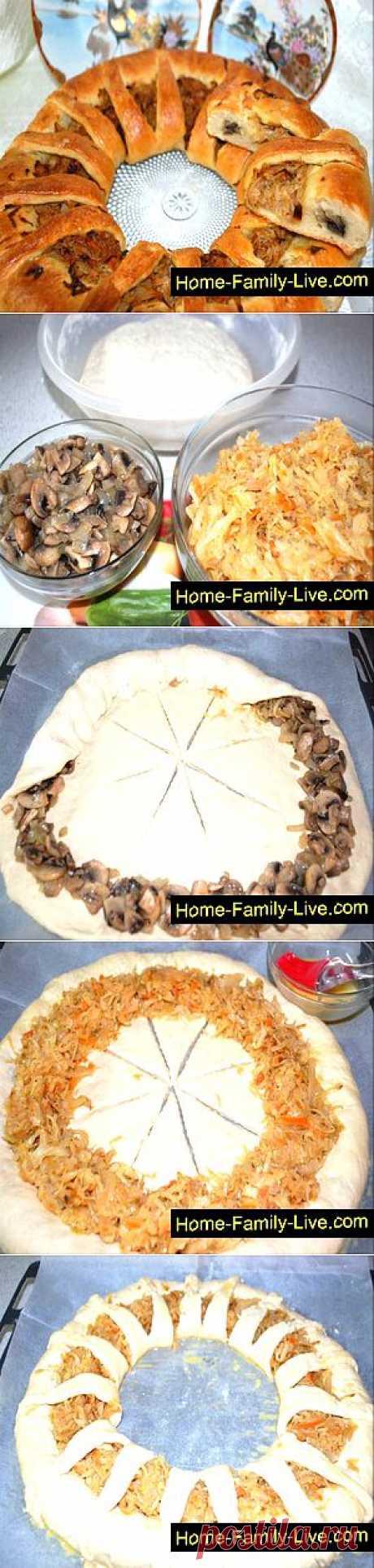Кулинарные рецепты Пирог с капустой и грибами » Кулинарные рецепты
