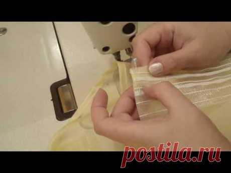 Как подшить тюль из органзы или капрона. Как пришить шторную ленту