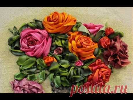 БОКОВАЯ РОЗА -- ШКОЛА ВЫШИВКИ ЛЕНТАМИ Татьяны Шелиповой / How to Make Ribbon ROSE