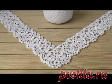 Ажурная КАЙМА для скатерти ВЯЗАНИЕ КРЮЧКОМ мастер-класс Crochet Border for Doily Tablecloth