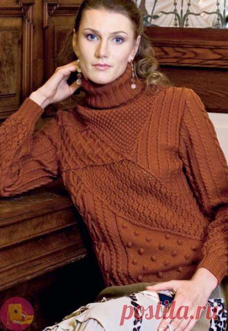 Шикарный вязаный пуловер с фантазийным узором — Сделай сам, идеи для творчества - DIY Ideas