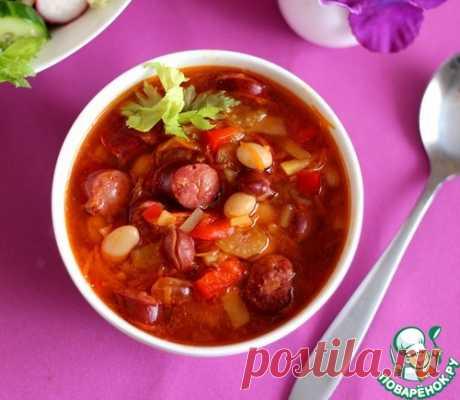 Фасолевый суп с охотничьими колбасками – кулинарный рецепт