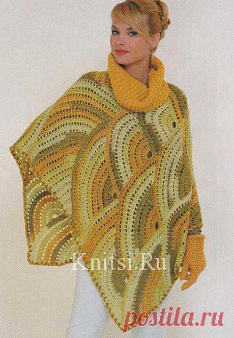 Пончо в осенних цветах. Вязание для женщин / Пончо и накидки / Крючком
