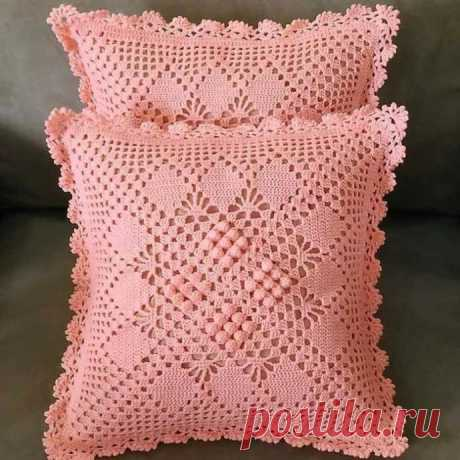 Красивая наволочка на подушку, вяжем крючком
