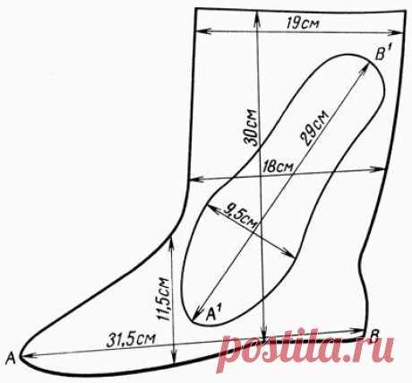 сшить высокие носки