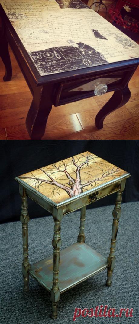 Идеи декупажа столов