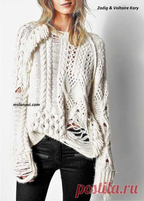 Модный свитер спицами   Вяжем с Лана Ви