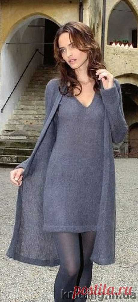 Classical set: a cardigan and a dress – incredibly gentle and soft.