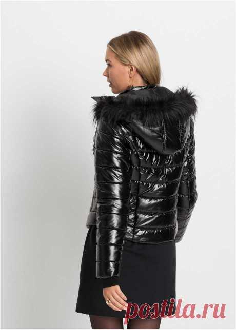 Куртка с капюшоном черный металлик - Для женщин - bonprix.ru