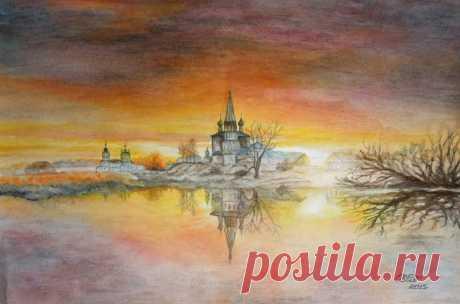 Пейзаж № 240 (70х50) Рассвет над р. Теза, Ивановская область - OLASUN.ru - картины акварелью