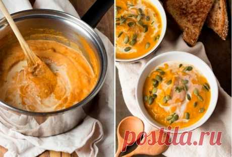 Отличные рецепты супов  Зимой ни дня без горячего супа! В холодную погоду нет ничего лучше тарелки горячего супа! Он должен согревать, быть сытным и вкусным. Вам надоел традиционный гороховый суп и рассольник? Тогда порадуйте близких новыми рецептами.  1) Нежный тыквенный суп.  Ингредиенты:  тыква – 1 кг; морковь – 250 гр; чеснок – 2 зубчика; корень имбиря; оливковое масло – 50 мл; сливки; куркума; тыквенные семечки; соль и зелень петрушки.  Приготовление:  Овощи и чеснок ...