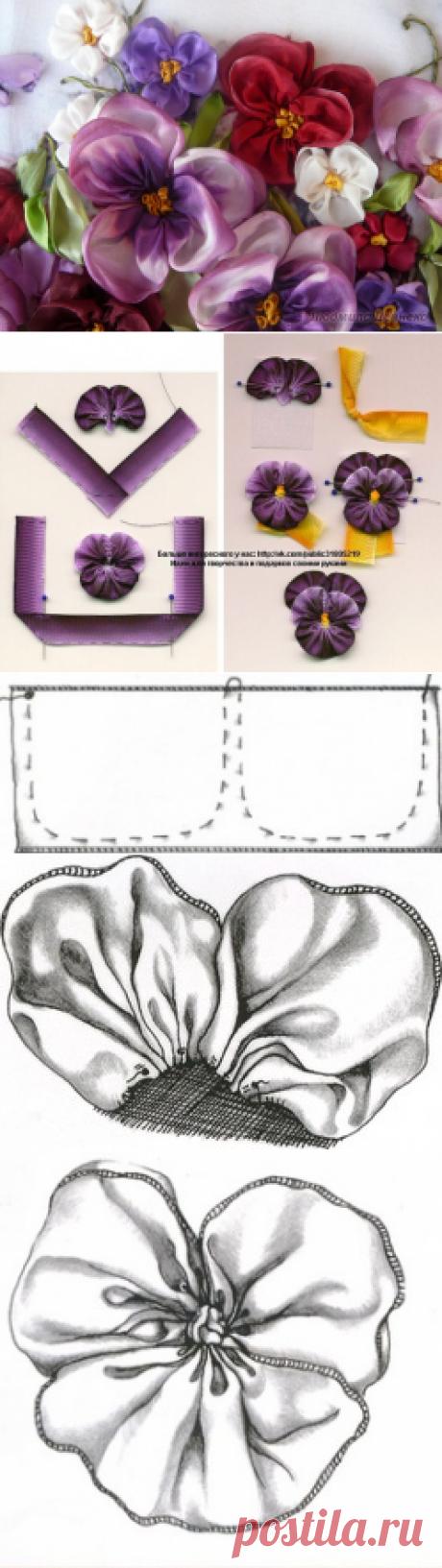 Вышивка лентами-фиалки и анютины глазки.