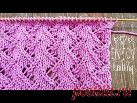 КЛАССНЫЙ Ажурный Узор спицами Елочки / Zig Zag Lace knitting stitch pattern / #57