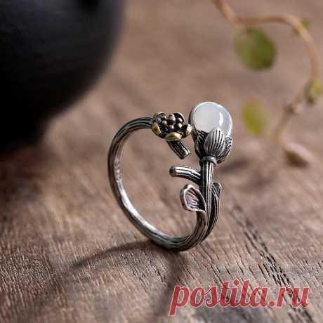Weiß Hetian jade Öffnung Ring 925 Silber Orchidee | Etsy
