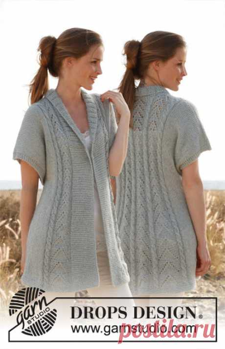 Удлинённый жилет от Drops Design (6 размеров)    Вязание спицами для женщин: Удлинённый жилет отDrops Design