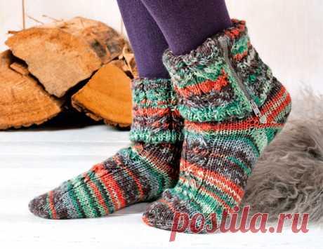 Носки с молнией - схема вязания спицами. Вяжем Носки на Verena.ru