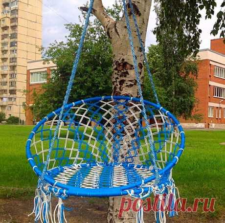 Suspended hanging chair the hands: how to make a chair of textiles and a macrame