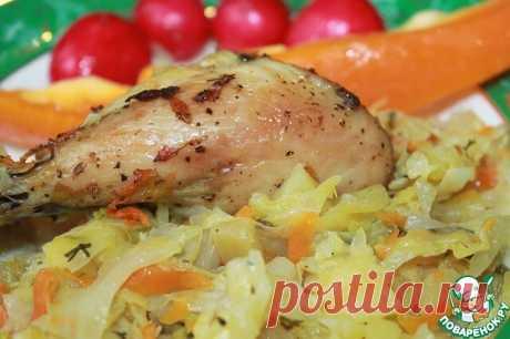 Куриные голени с овощами  Рецепт – находка для занятых хозяек! Куриные голени, приготовленные с овощами - сытное, сочное и вкусное блюдо. В процессе запекания сохраняются все соки и ароматы, замечательно сочетаясь между собой. Рецепт выручит, когда совсем нет времени на приготовление. Овощи можете подбирать по своему вкусу.  Источник: https://www.povarenok.ru/recipes/show/158161