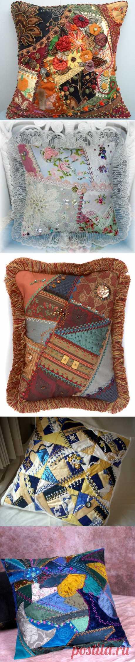 Красивые подушки из лоскутков.