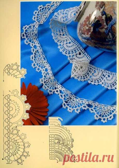 Кайма крючком Предлагаю несколько вариантов каймы крючком из популярного журнала.Она может быть необходима при изготовлении наволочек для подушек, салфеток и скатертей, для обработки низа платья, жакета, блузы. Да мало ли для чего еще!