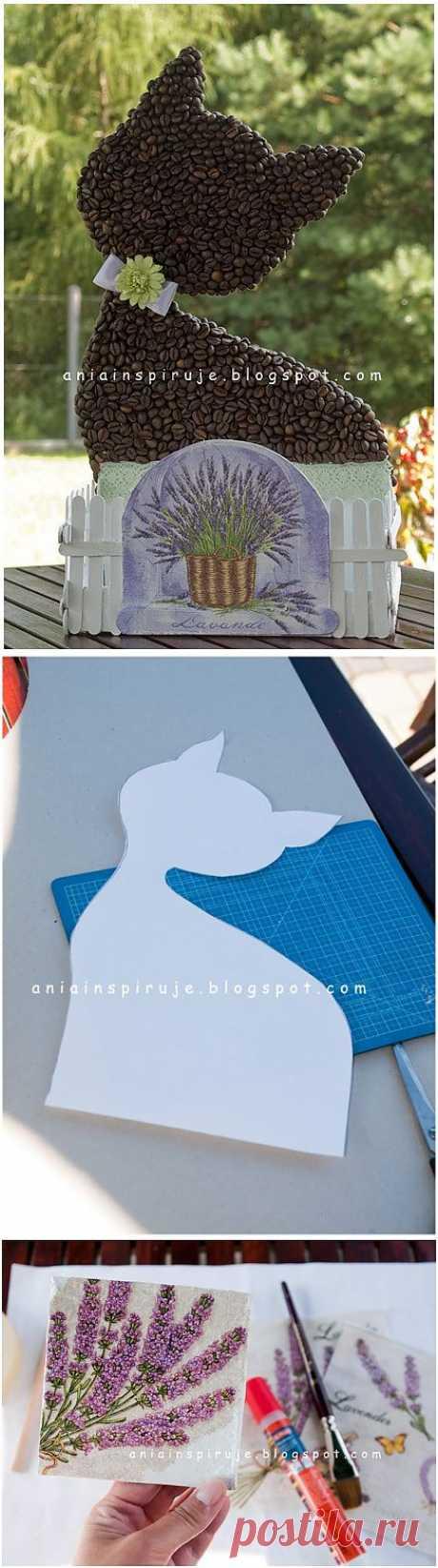 Кофейная кошечка с лавандовым садиком) Декоративная композиция для кухни.