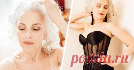 61-летняя модель из России разделась для рекламы нижнего белья. Зрелая красота.