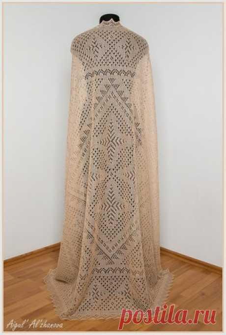 Вязаная шаль Звездное небо,  Вязание для женщин Автор работы и описания Айгуль Альжанова. Для вязания платка можно использовать любую тонкую пряжу: шерсть, пух, мохер. Для работы требуется примерно
