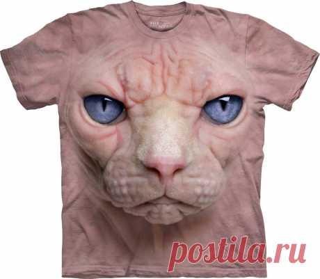 Арт № 103470 Футболка The Mountain - Hairless Pussycat Face Бесшовная футболка -варенка 100% хлопок Размеры   S, M, L,XL, XXL, XXXL Рисунок нанесен красками на водной основе. Не выгорает, не тянется
