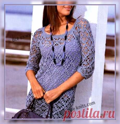 """Летнее платье """"Лаванда"""" крючком кружевным узором. Описание вязания, схема узора.   Все вяжут.сом/Everyone knits.com  """