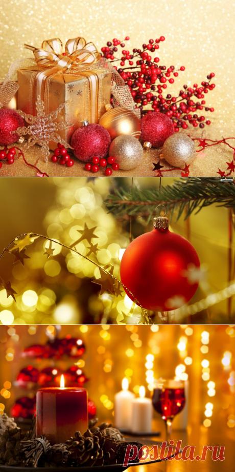 """Новогодние обои """"Красное и золотое"""""""