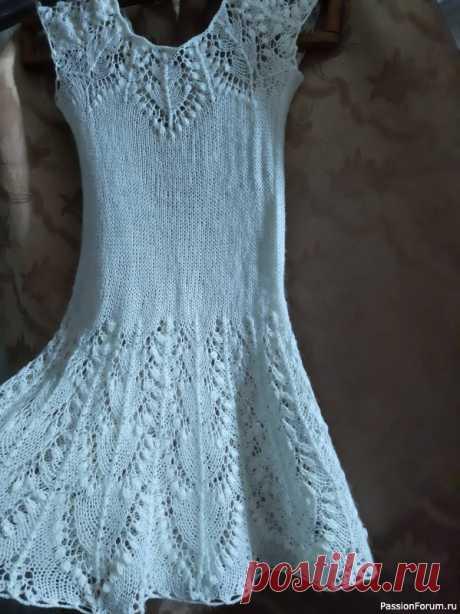Платье для внучки 5 лет | Вязание спицами для детей