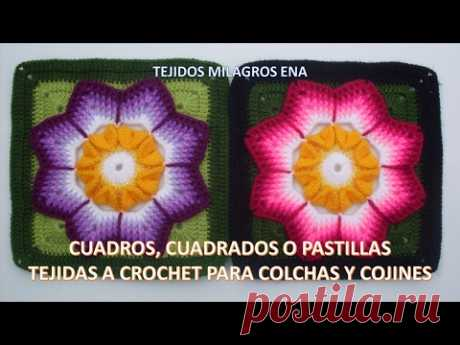 Cuadrado para colchas a crochet o ganchillo paso a paso con FLOR EN PUNTO COCODRILO Y RELIEVES