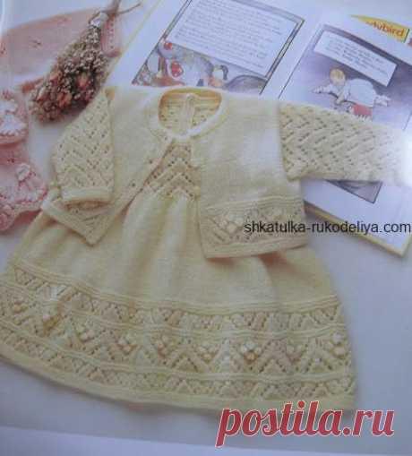 Вязаное платье спицами для малышки Вязаное платье спицами для малышки. Платье и болеро для девочки спицами со схемами.Комплект для девочкиспицами схема.…