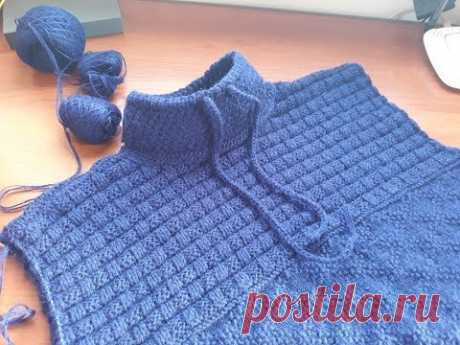 Пуловер (свитер) спицами для мужчин. Часть 5. Воротник.
