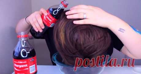 Some magic water: what will be if to wash the head Coca-Cola