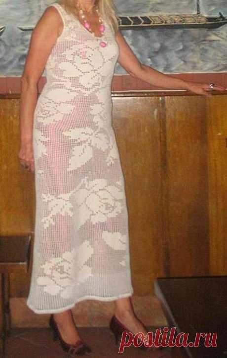 Красивое филейное платье(для тех,у кого хватит духу такое связать)